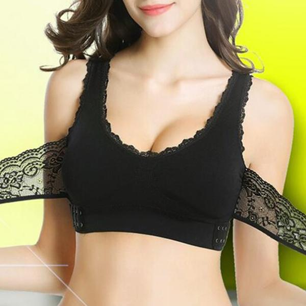 ee613b849d8 Soft Lace Plus Size Wireless Cross Side Buckles Gather Adjustable Yoga  Sports T-Shirt Bras