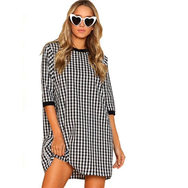 Ribbed Trim Plaid Dress Round Neck Half Sleeve Gingham Cotton Shift Dress