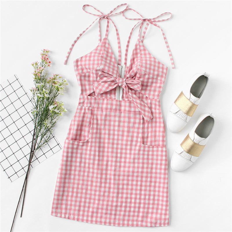 Tie Shoulder Knot Front Gingham Beach Dress
