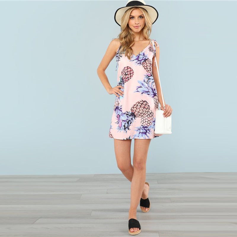 Pineapple Print Spaghetti Summer Dress