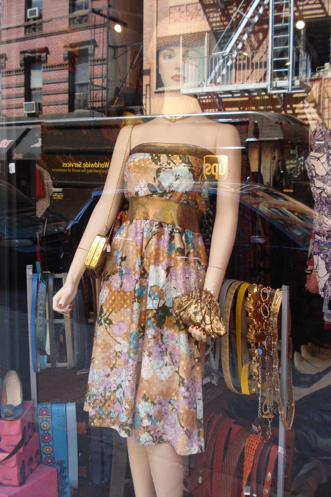 Mary Dress in window, Orchard Street, Lower East Side