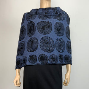 Spirals Denim Black Shawl Scarve Wrap