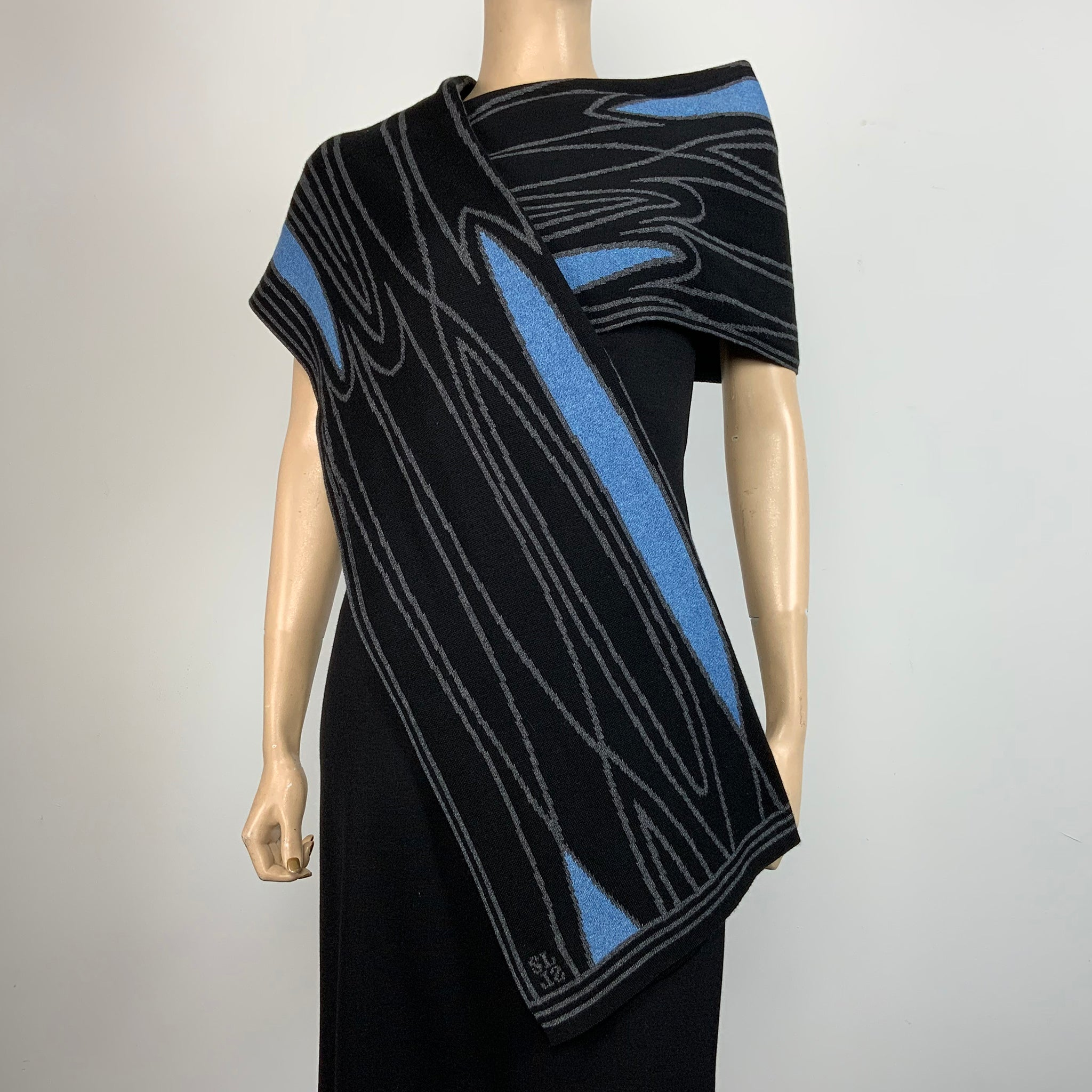 Mid Century Black Charcoal Light Blue Shawl Scarve Wrap