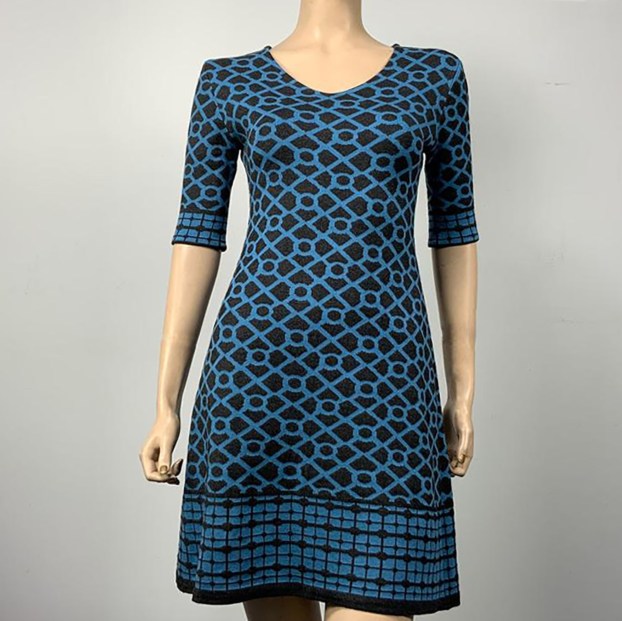 Bus Stop Amanda Dress Black and Mid Blue