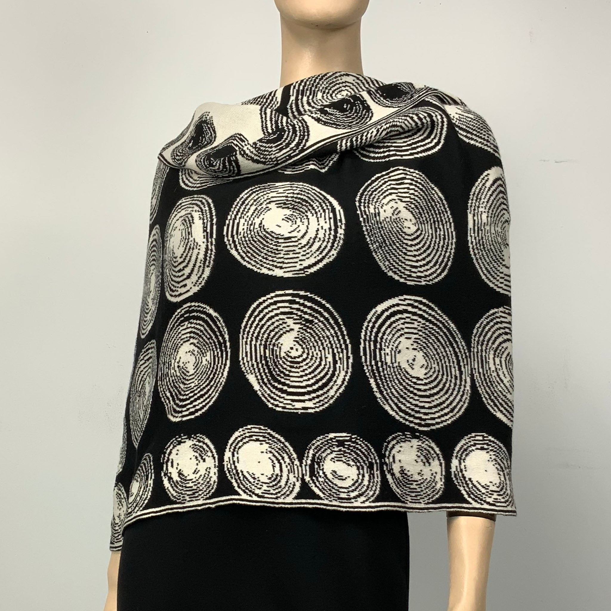 Spirals Black Cream Shawl Scarve Wrap