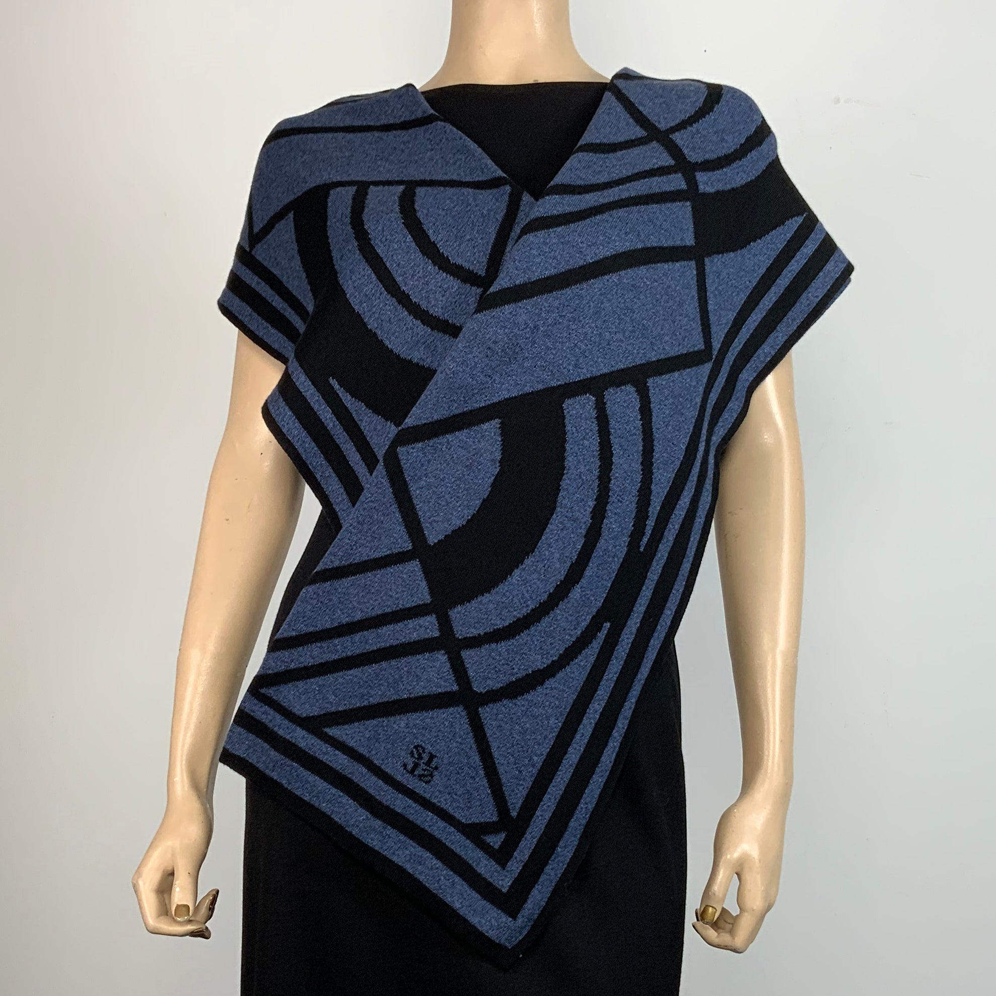 Deco Denim and Black Shawl Scarve Wrap
