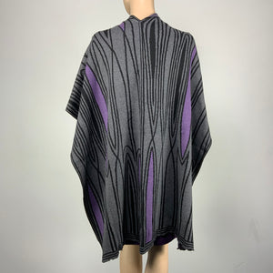 Mid Century Charcoal,  Black and Purple