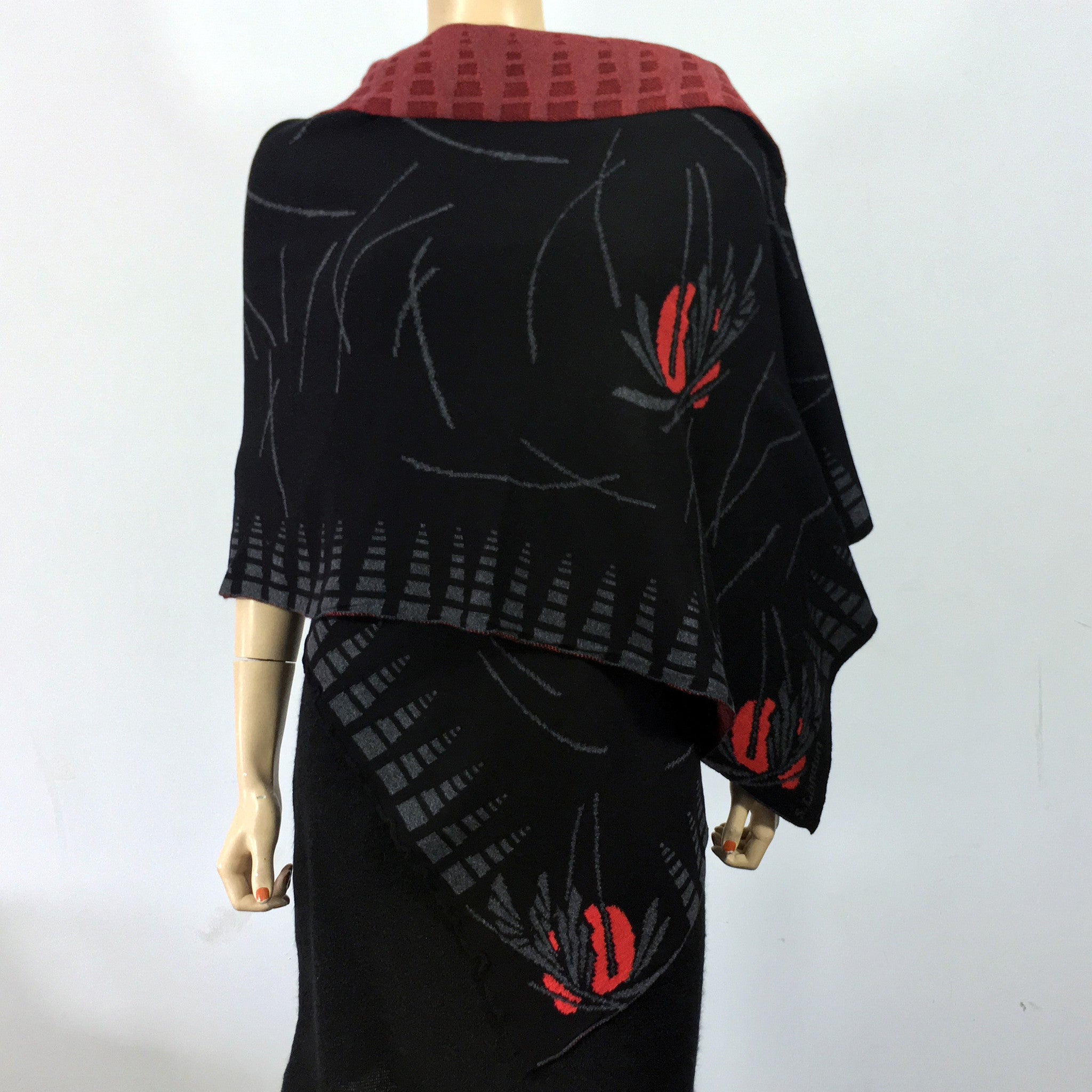Blossom Black Charcoal Red Shawl Scarf Wrap