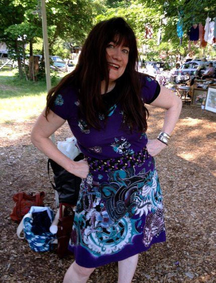 Woodstock Flea Holly George Warren wearing Sharon London Original, Roberto Cavelli fabric