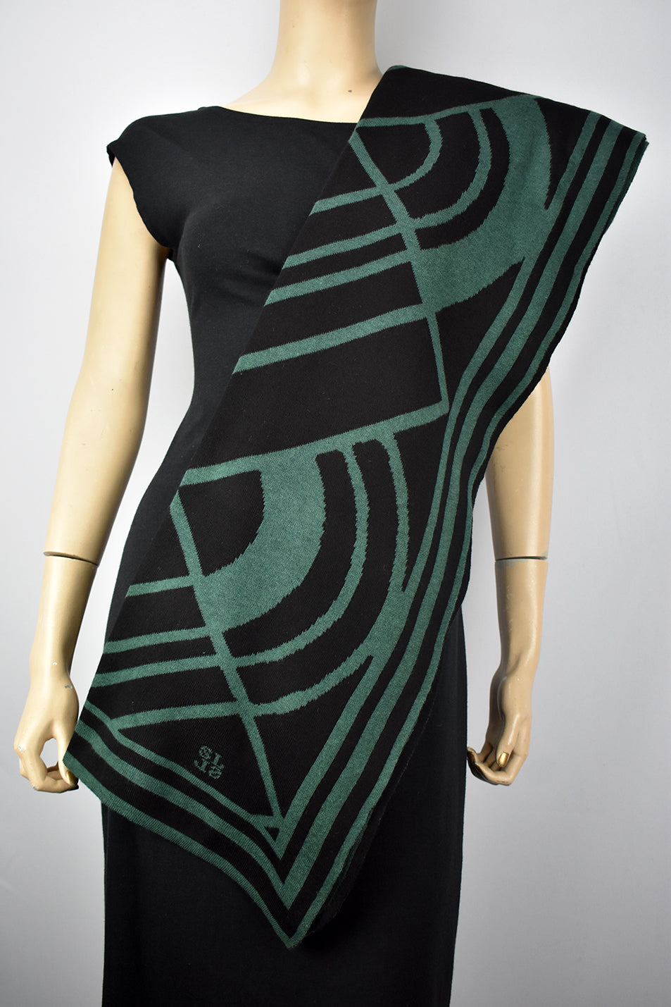 Deco Shawl Scarve Wrap Hunter Green and Black