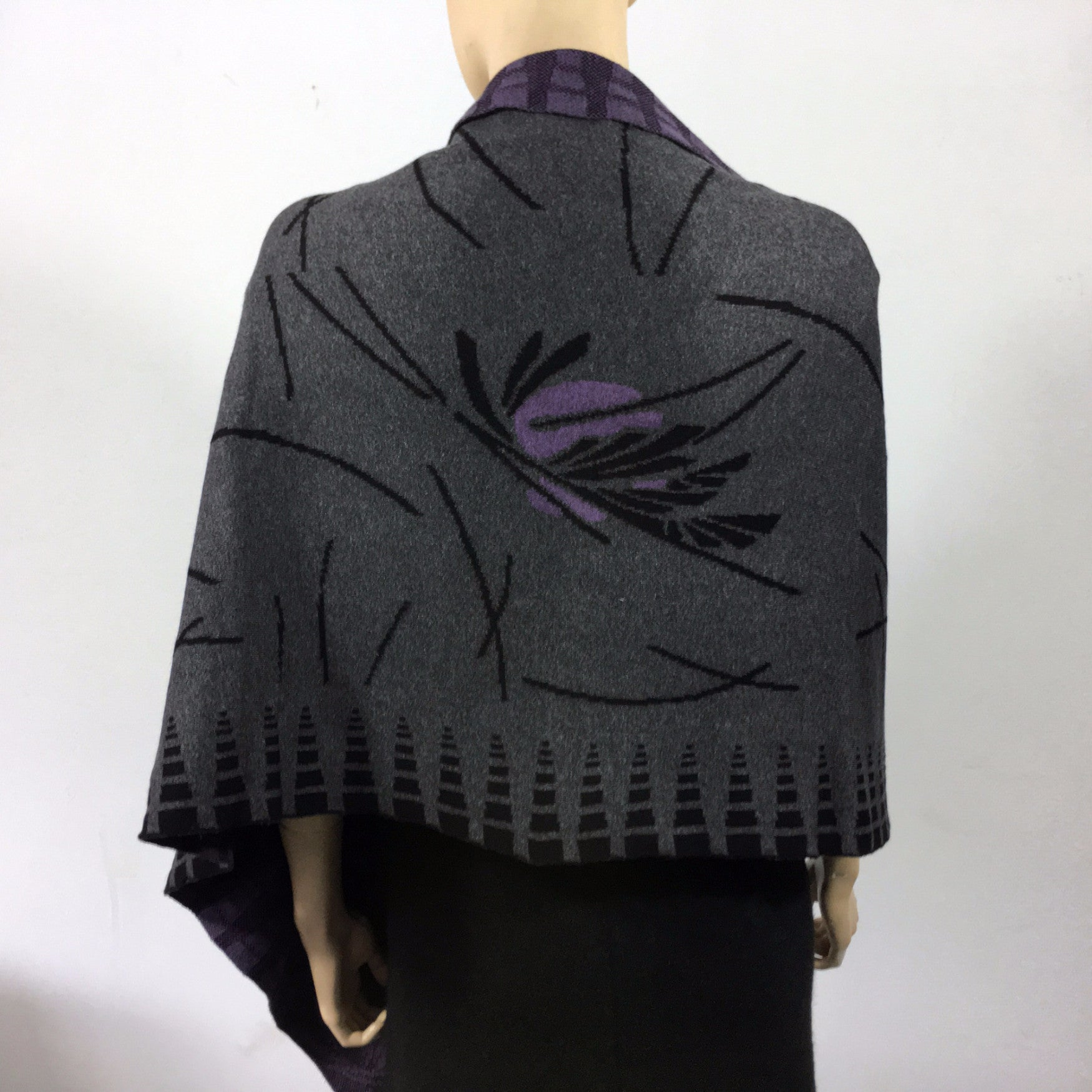 Blossom Grey Black Purple Shawl Scarf Wrap