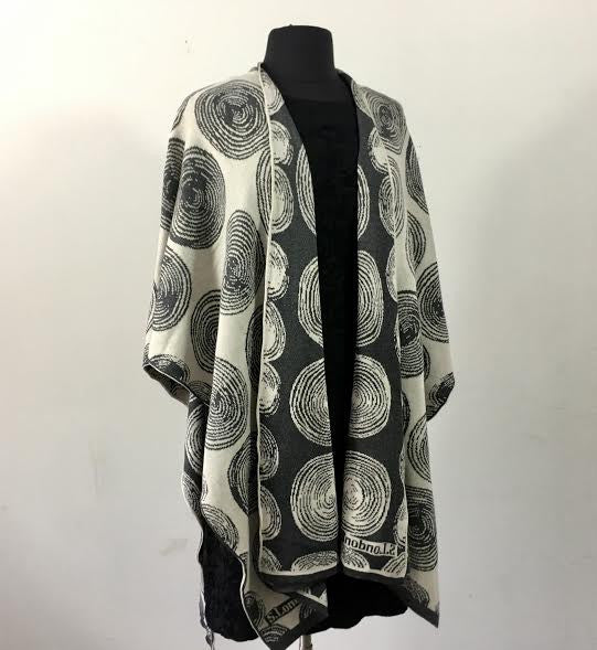 The Circle Cape  Grey, Cream