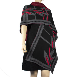 English Flower Cape Black, Charcoal , Black and Red