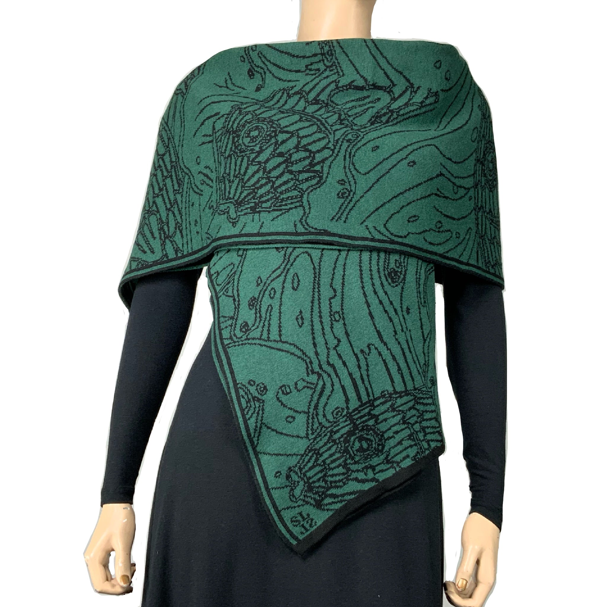 Pisces Shawl Scarf Wrap Hunter Green and Black