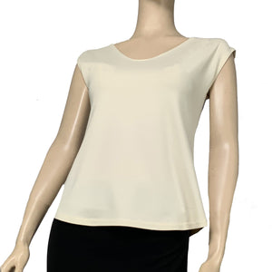 Solid Ava Top Cap Sleeve Cream