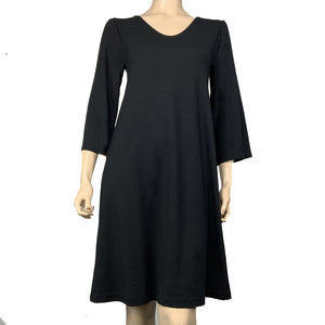 Solid Black Alice Cotton Bamboo Relaxed-Fit Dress