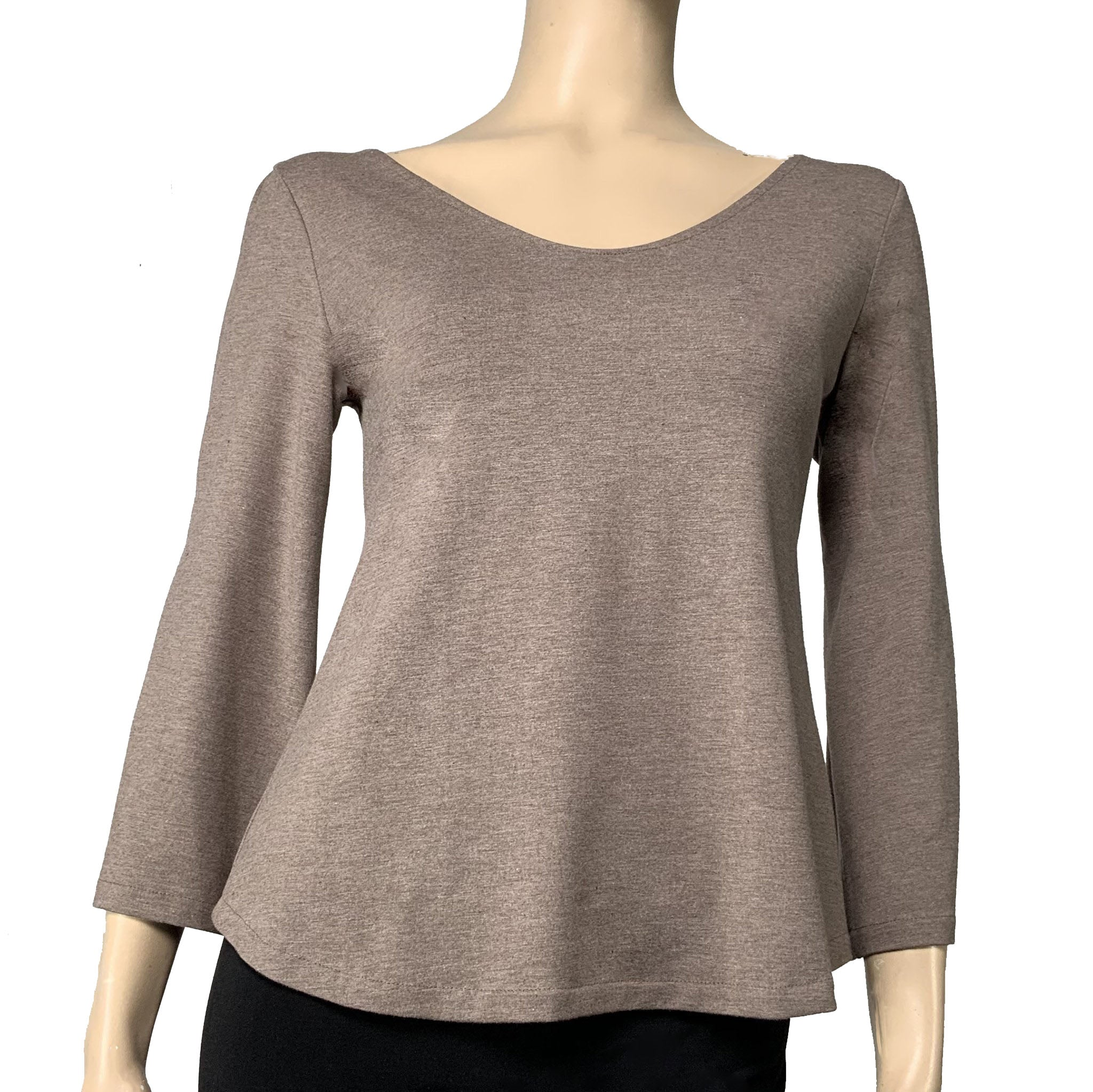 Solid Ava Top Flared Sleeve Sand