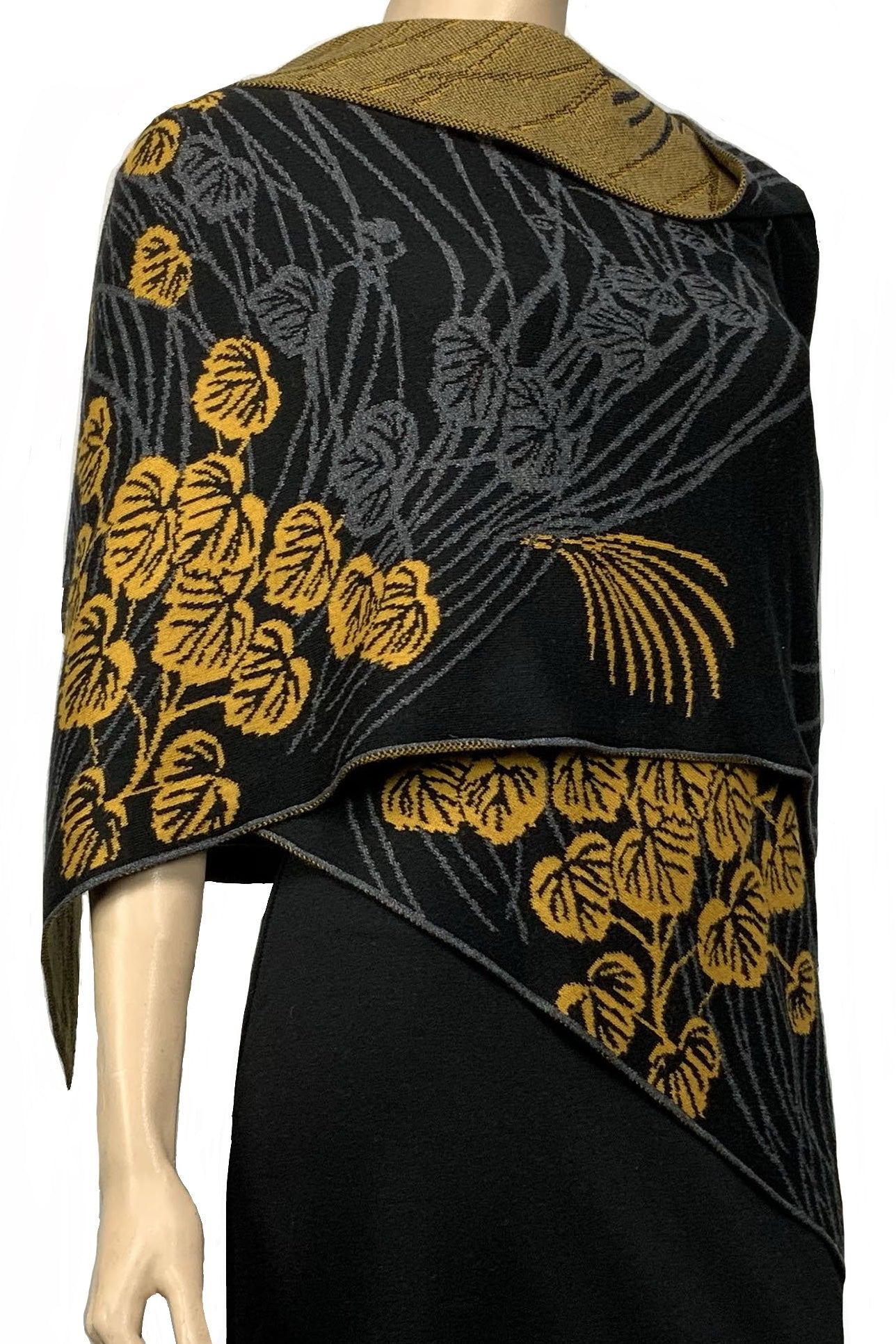 Moonscape Shawl Scarf Wrap Black, Dark Grey, Gold
