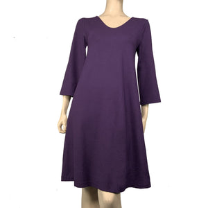 Solid Ruby Aline Dress, Purple, Flared Sleeve