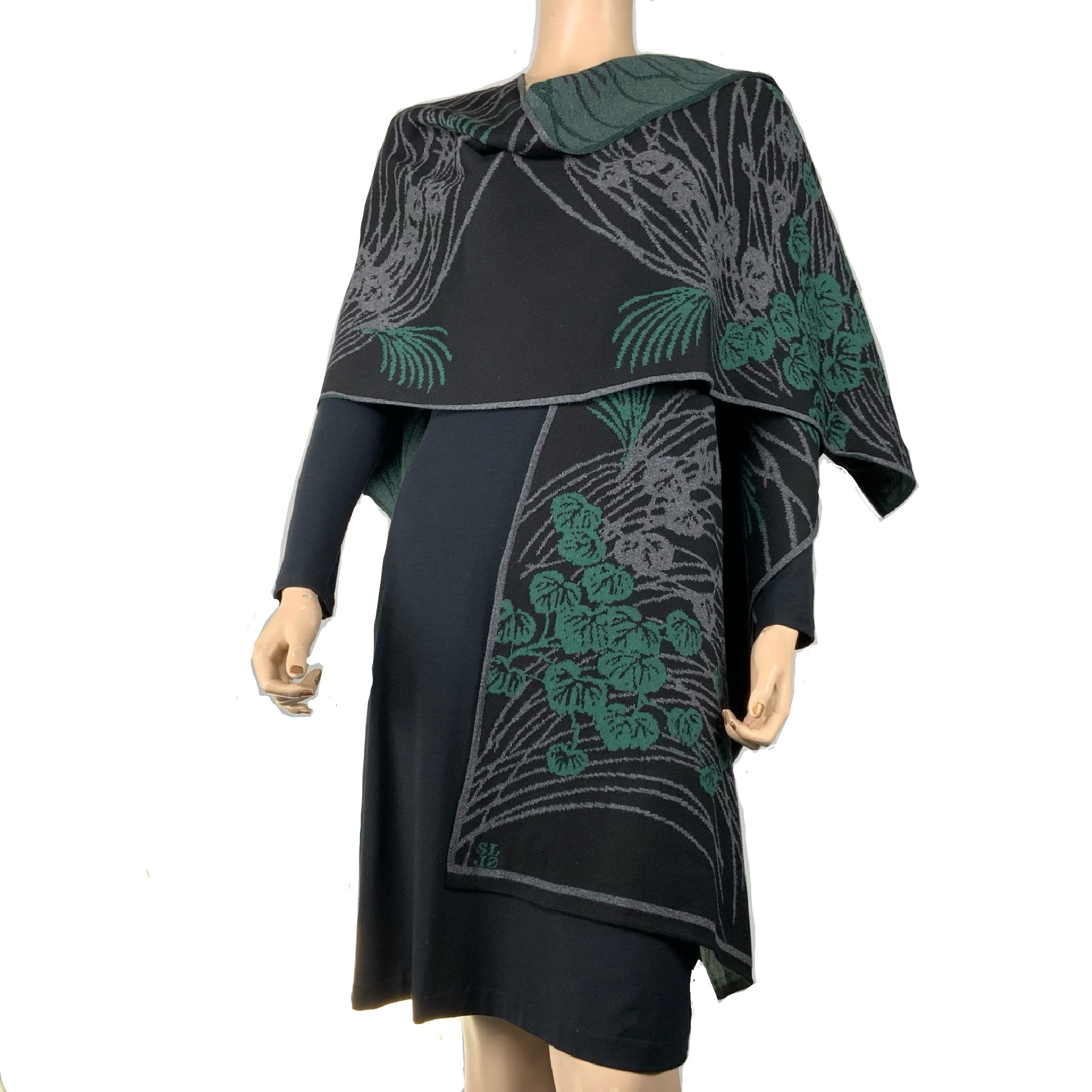 Moonscape Cape Black, Grey, Hunter Green