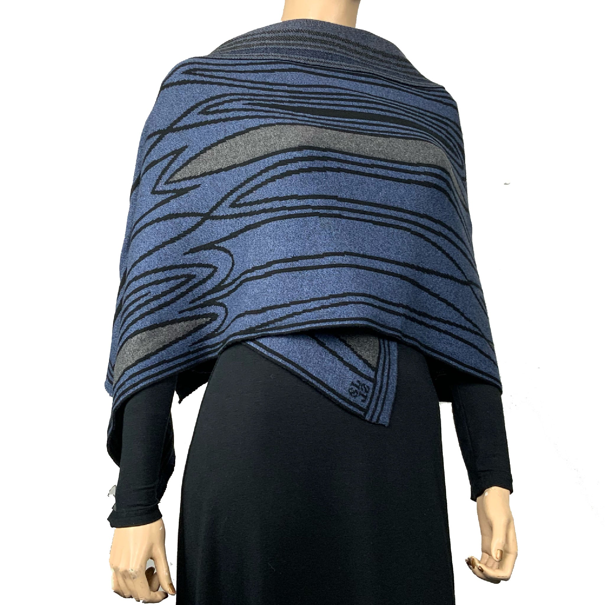 Mid Century Denim Blue Black Charcoal Shawl Scarve Wrap