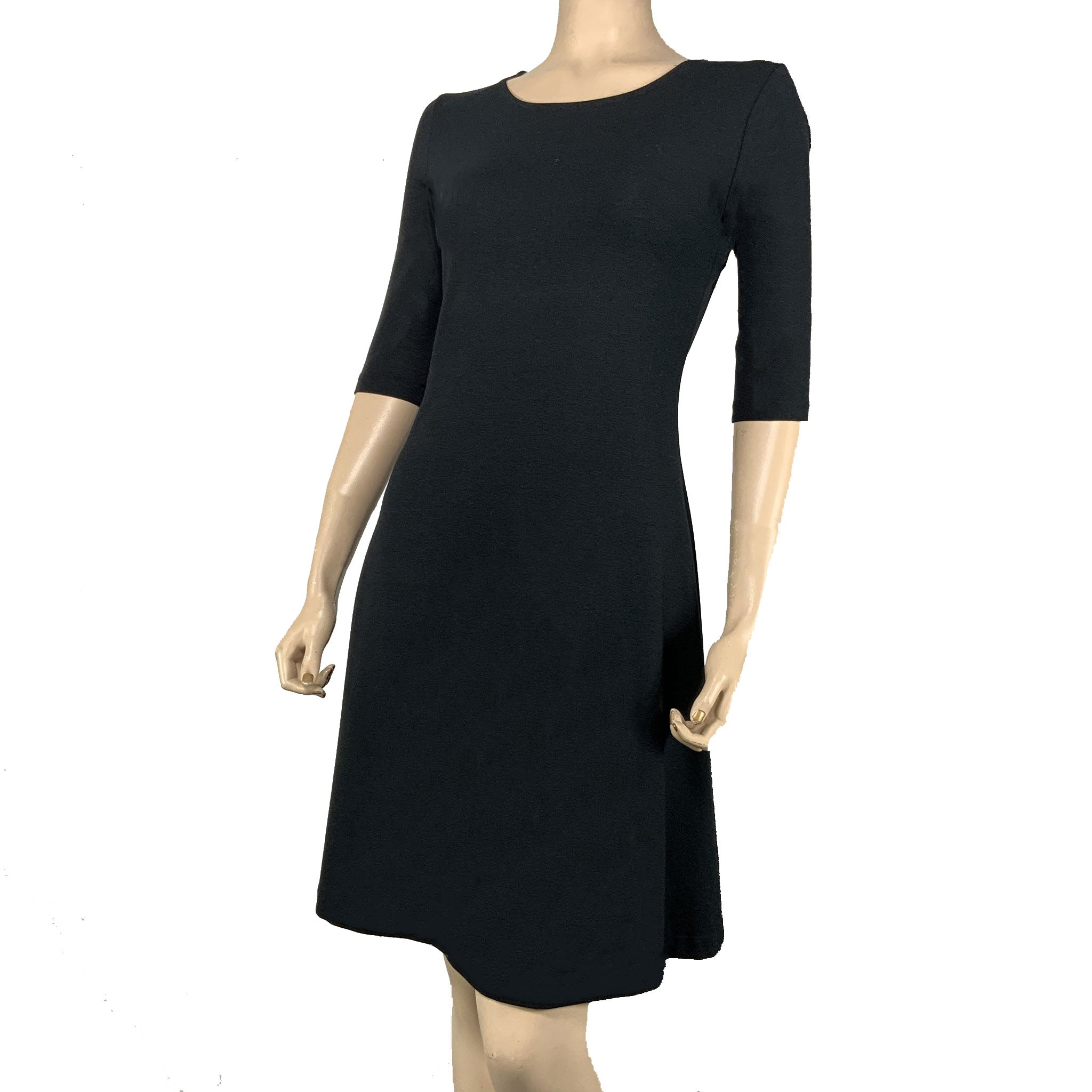 Solid Black Lucia Cotton Bamboo Dress