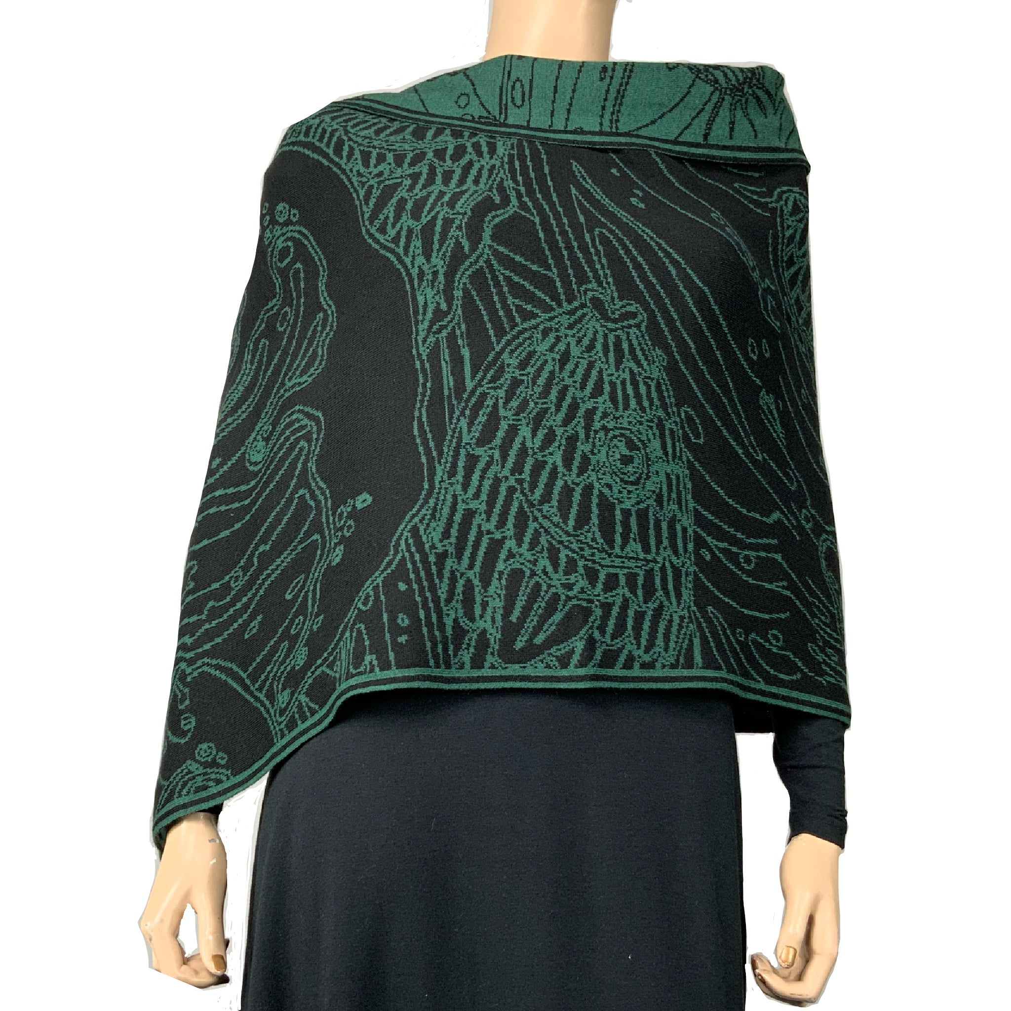 Ocean Shawl Scarf Wrap Black and Hunter Green