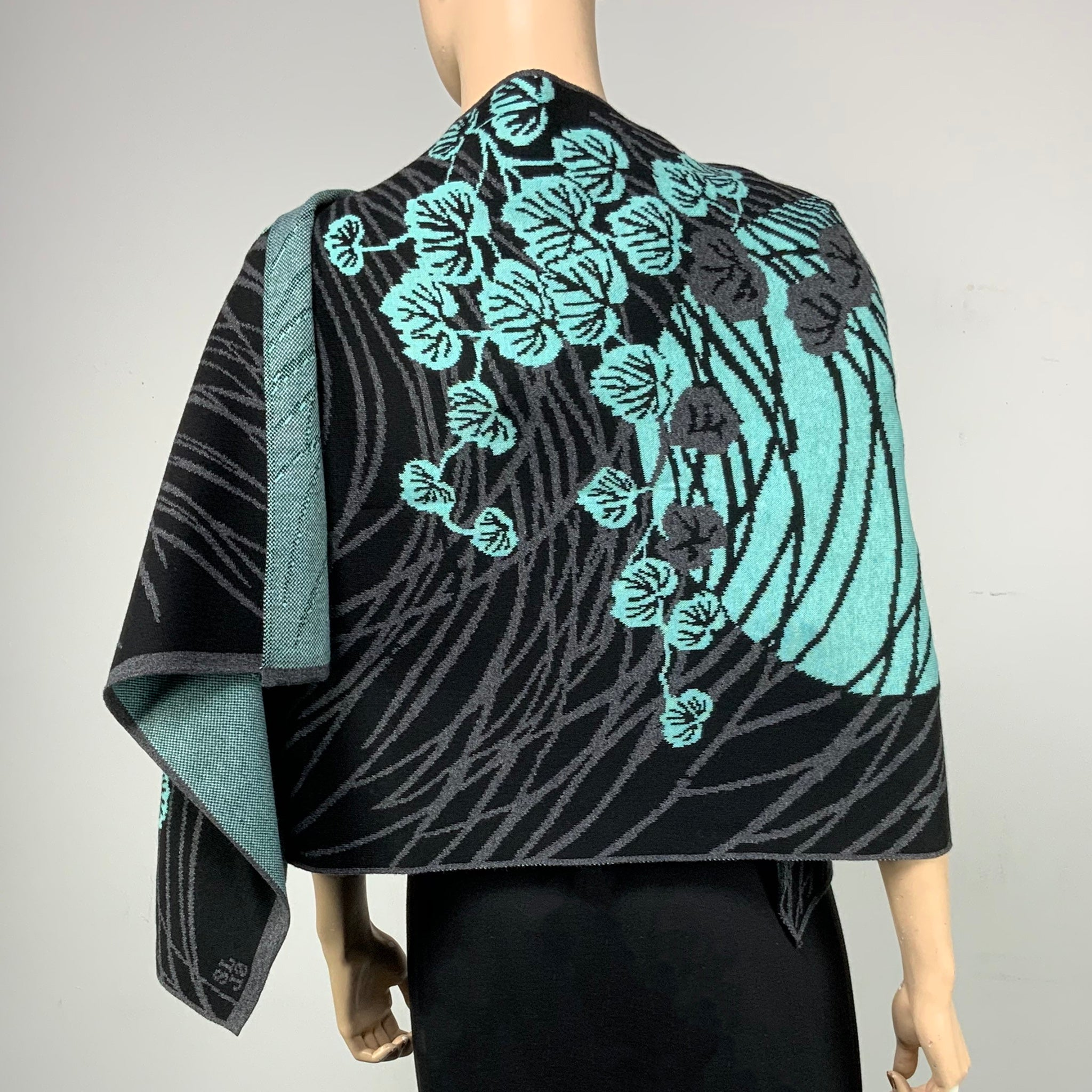 Moonscape Shawl Scarf Wrap Black, Grey, Mint