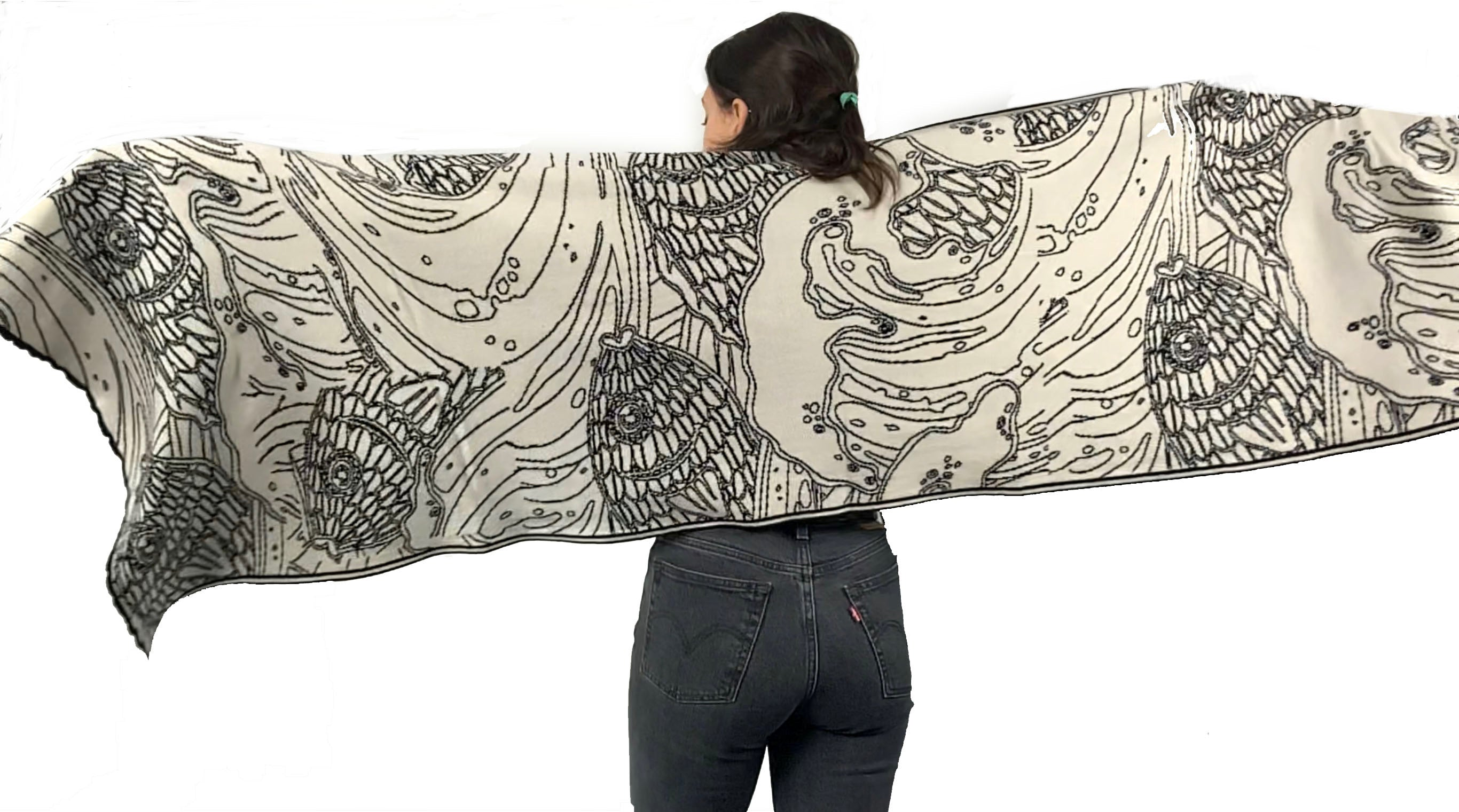 Ocean Reversible Shawl Scarf Wrap Black and Cream