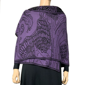 Pisces Shawl Scarf Wrap Purple and Black