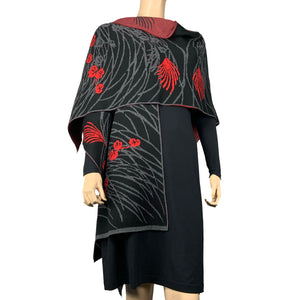 Moon Vine Cape Black, Grey, Red