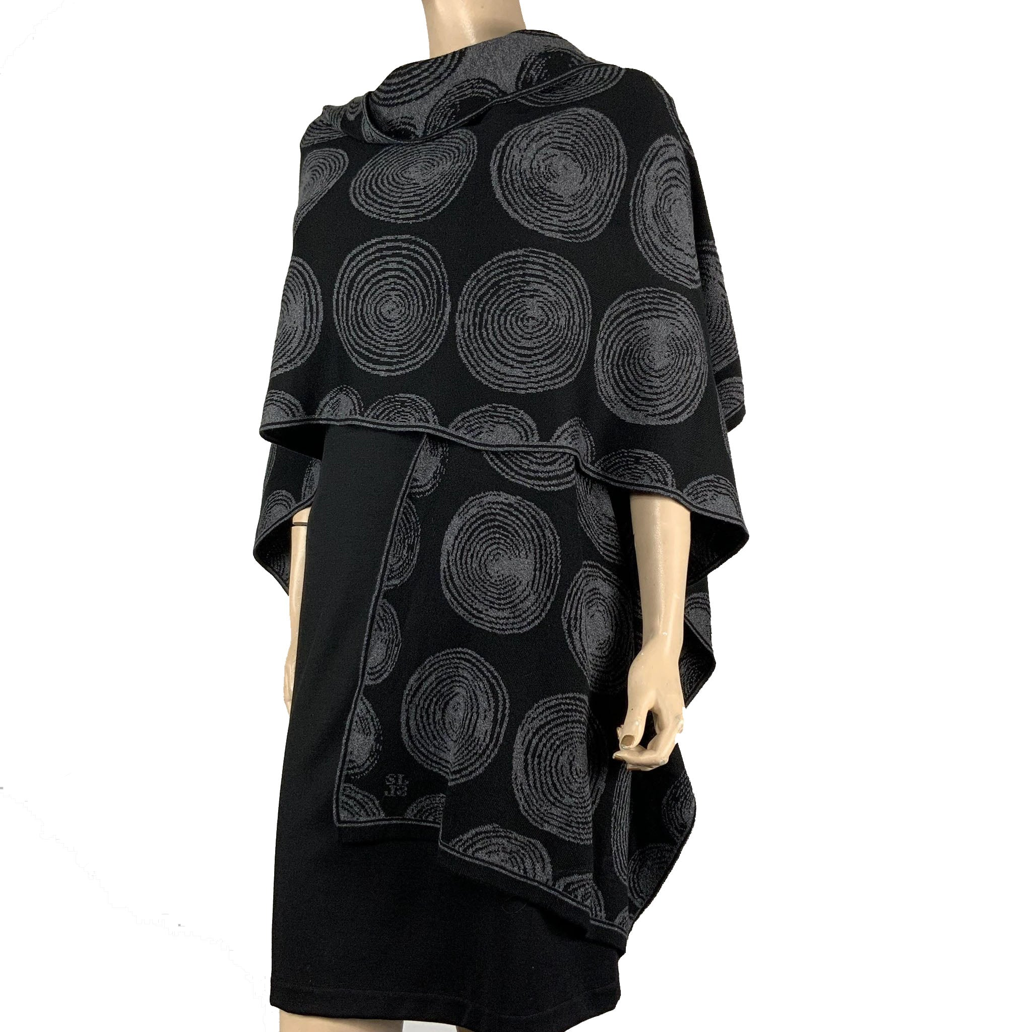 Spirals Cape Black & Charcoal Grey
