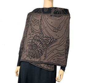 Pisces Shawl Scarf Wrap Bronze and Black