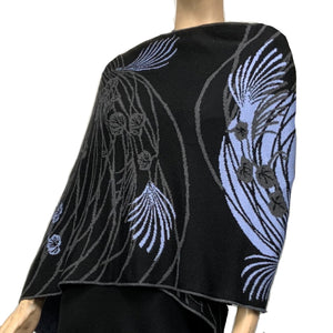Moonscape Shawl Scarf Wrap Black, Dark Grey, Light Blue