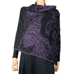 Pisces Purple and Black Shawl Scarf Wrap