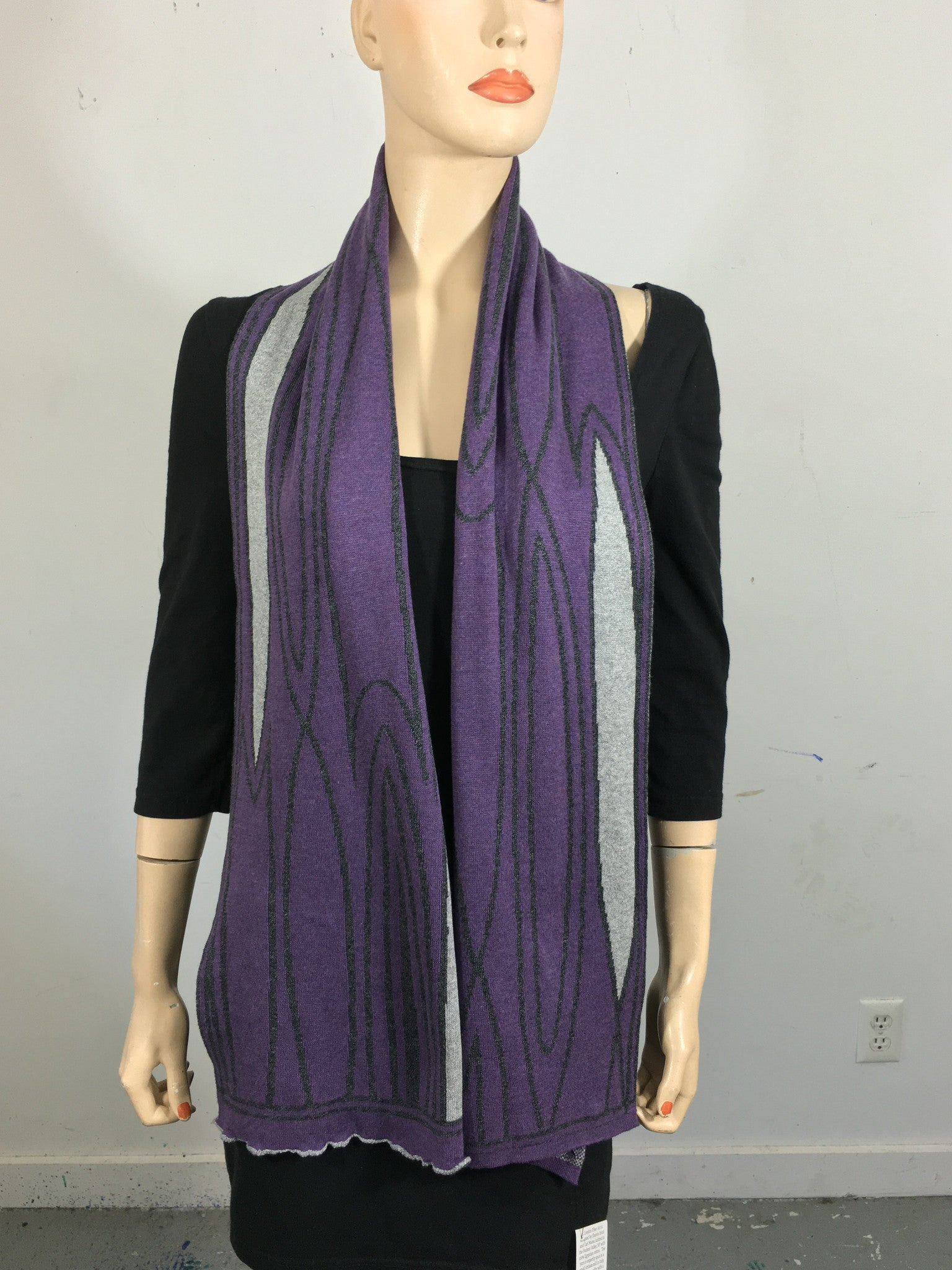 Purple, dk grey, light grey scarf