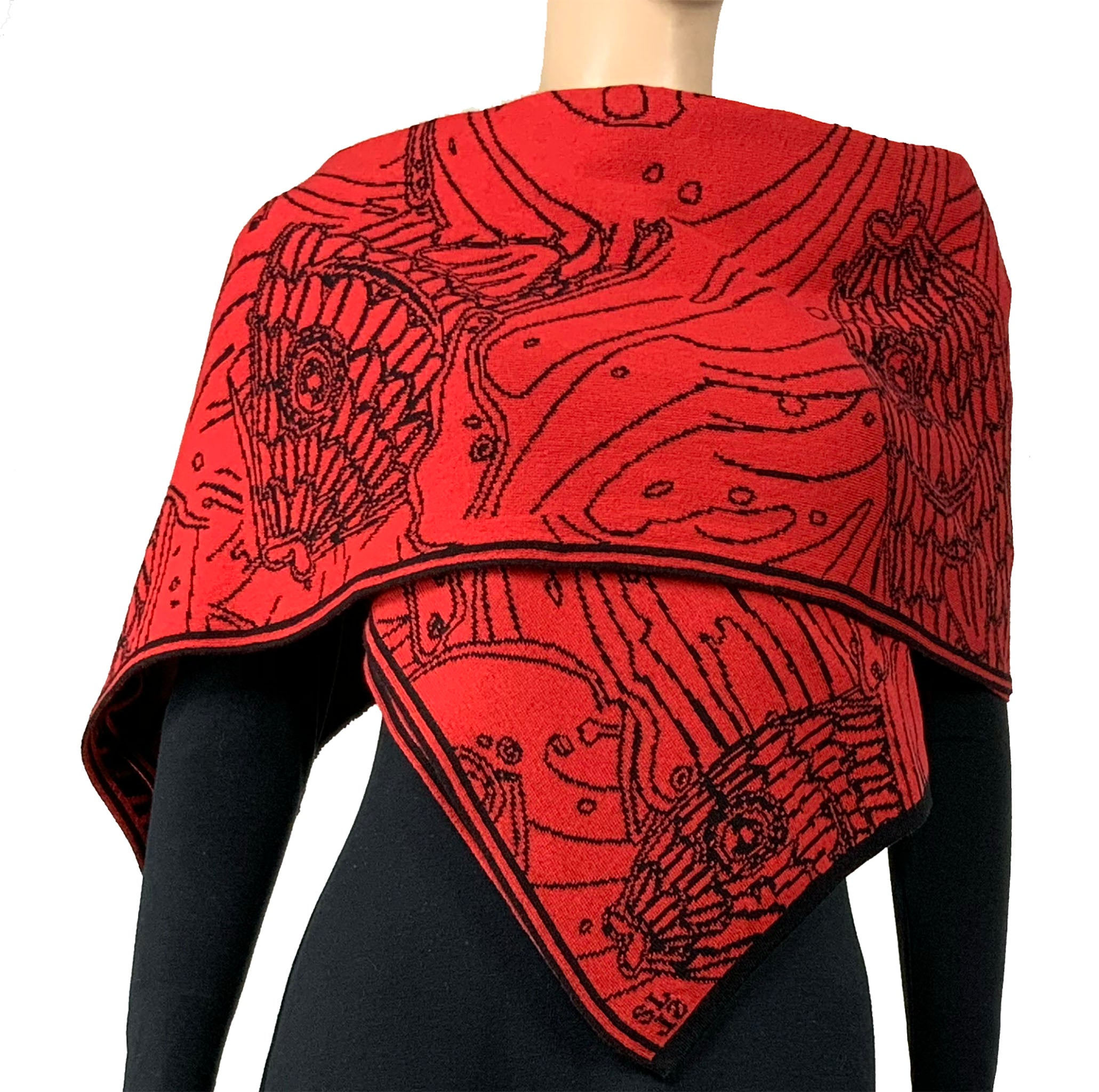 Pisces Shawl Scarf Wrap Black and Red