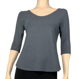 Solid Ava Top Half Sleeve Grey