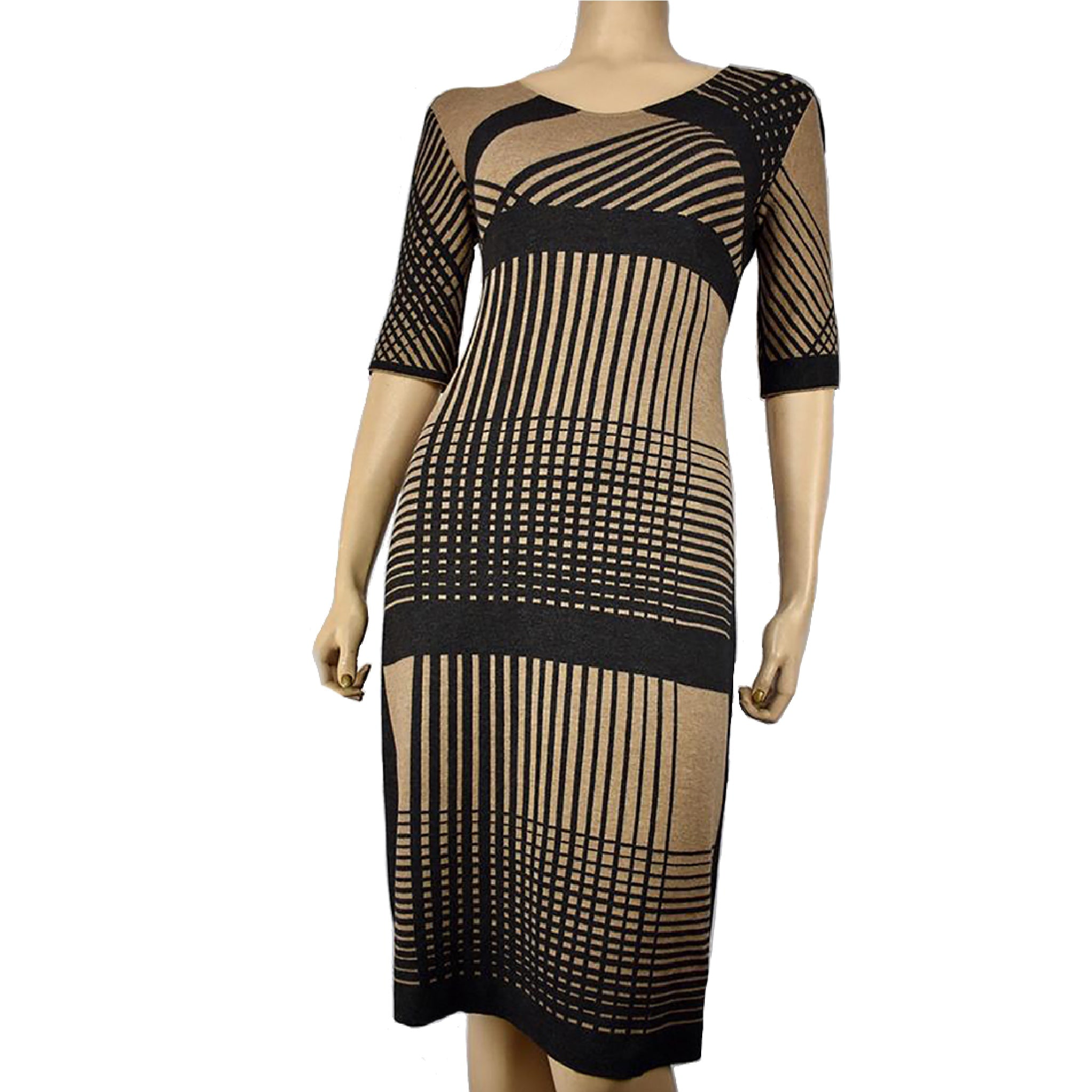 Corsica Dress Charcoal and Beige
