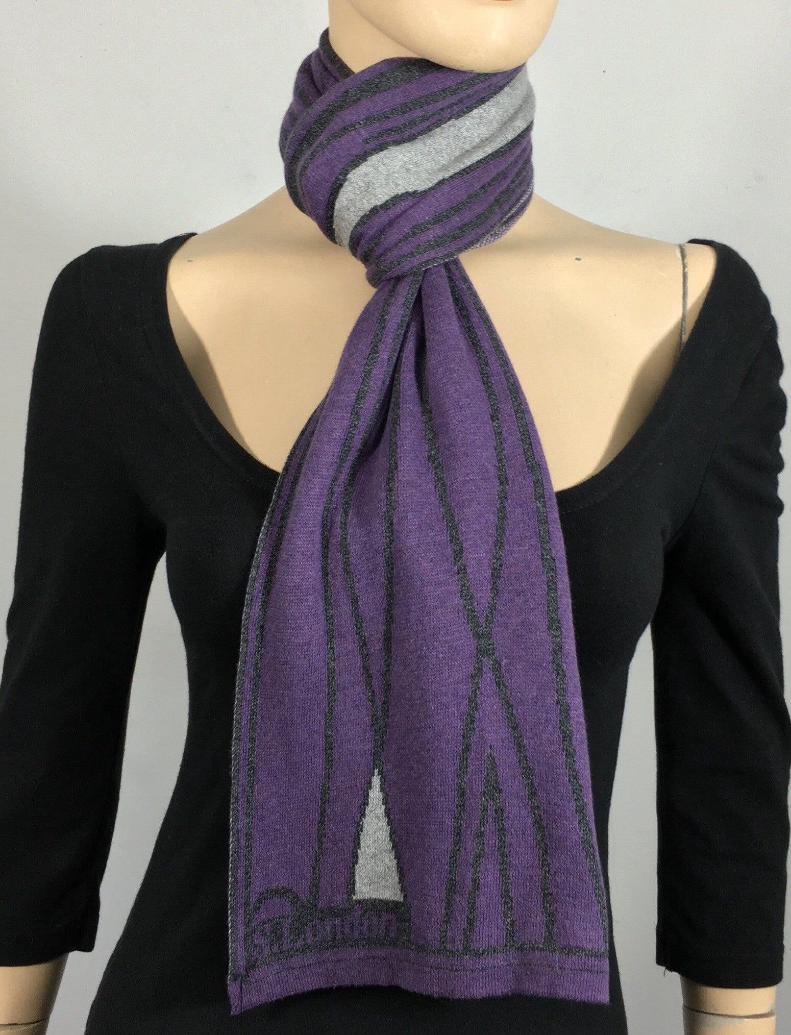 Purple, navy, grey scarf