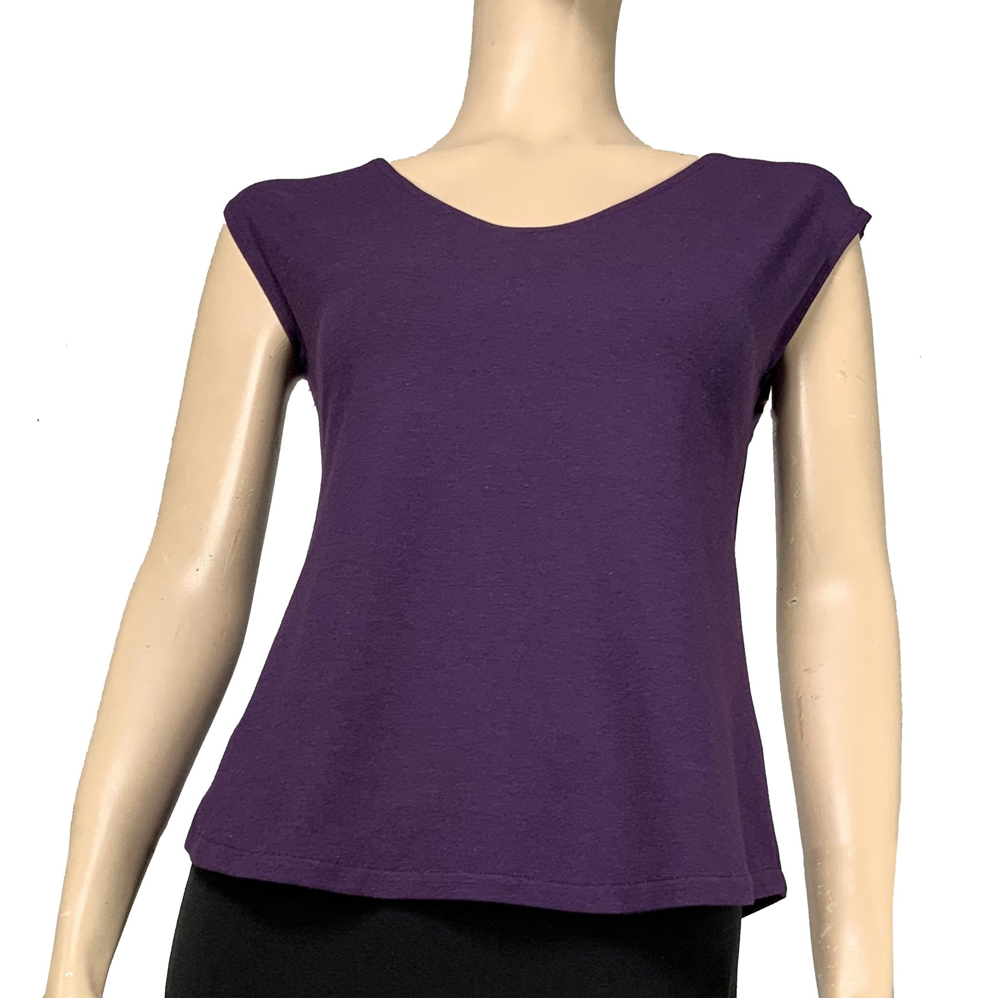 Solid Ava Top Cap Sleeve Purple