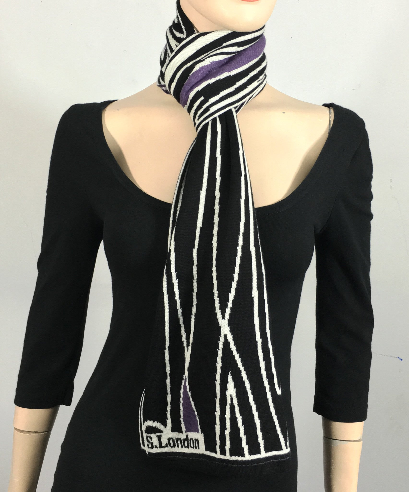 Black, white and purple scarf