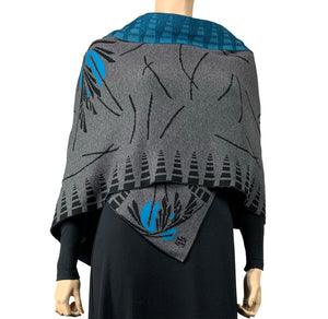 Blossom Charcoal Black Turquoise Shawl Scarf Wrap