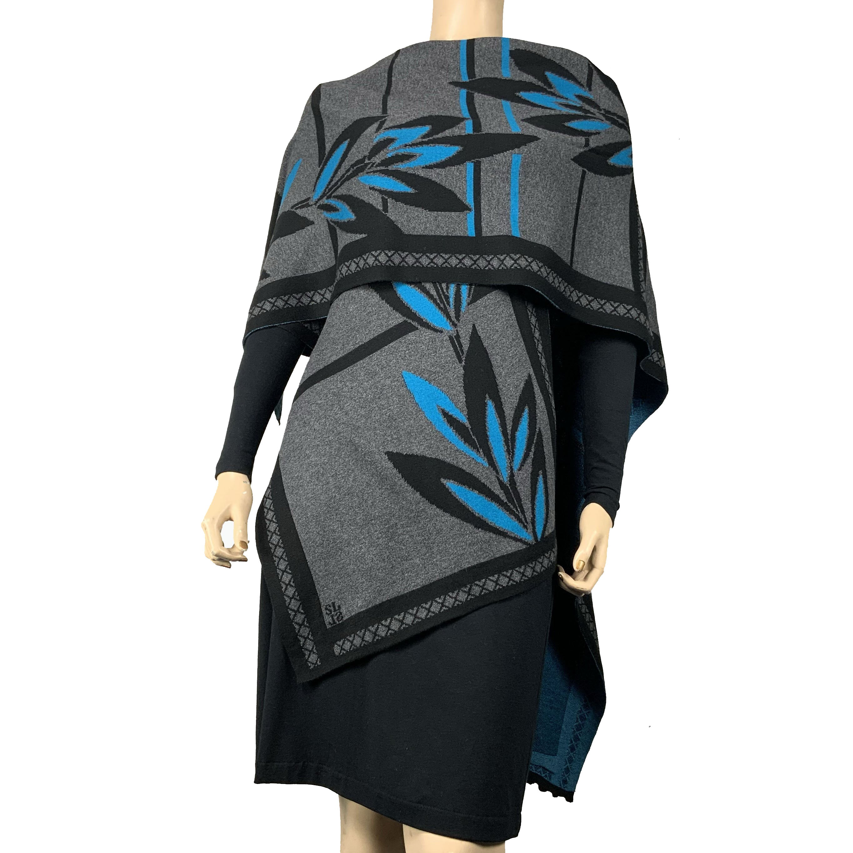 English Flower Cape Black, Charcoal, Turqouise