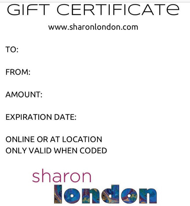 SHARON LONDON GIFT CERTIFICATE