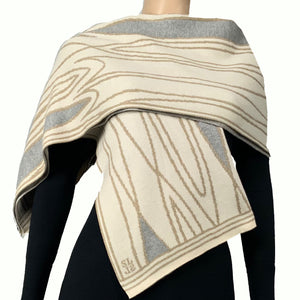Mid Century Cream Beige Light Grey Shawl Scarf Wrap