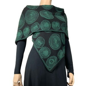 Spirals  Black  Hunter Green Shawl Scarf Wrap