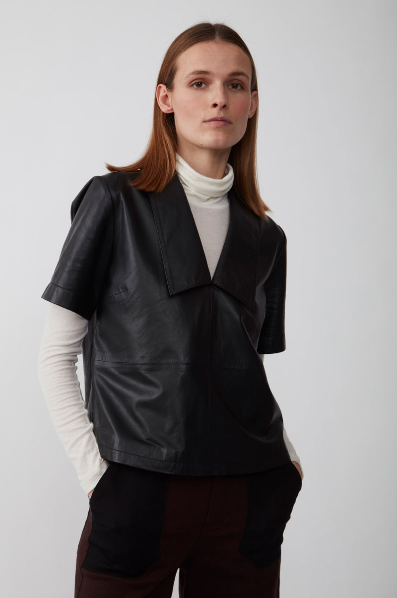 Laurene leather blouse