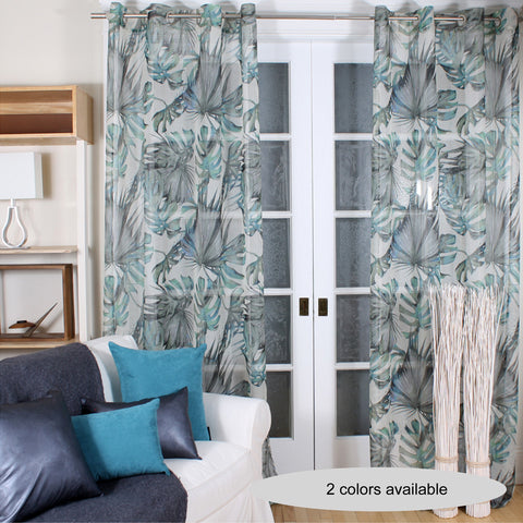 blue palm curtain by Marie Dooley
