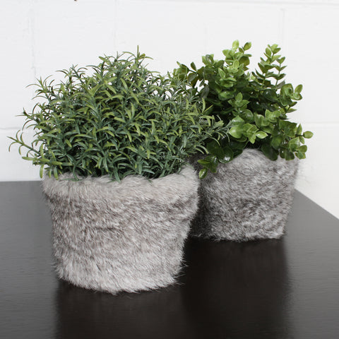 rabbit fur plant pot